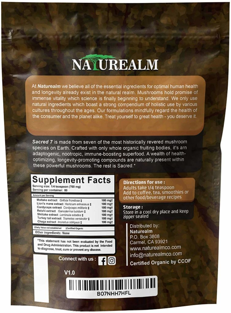 naturealm sacred 7 mushroom extract powder nutrition label